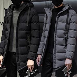 2018新款冬季男士中长款棉衣修身仿丝羽绒绵服帅气加厚棉袄外套潮