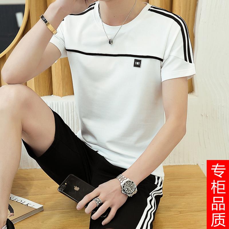 休闲运动套装男夏季韩版潮流半袖两件套大码男士衣服t恤短袖短裤