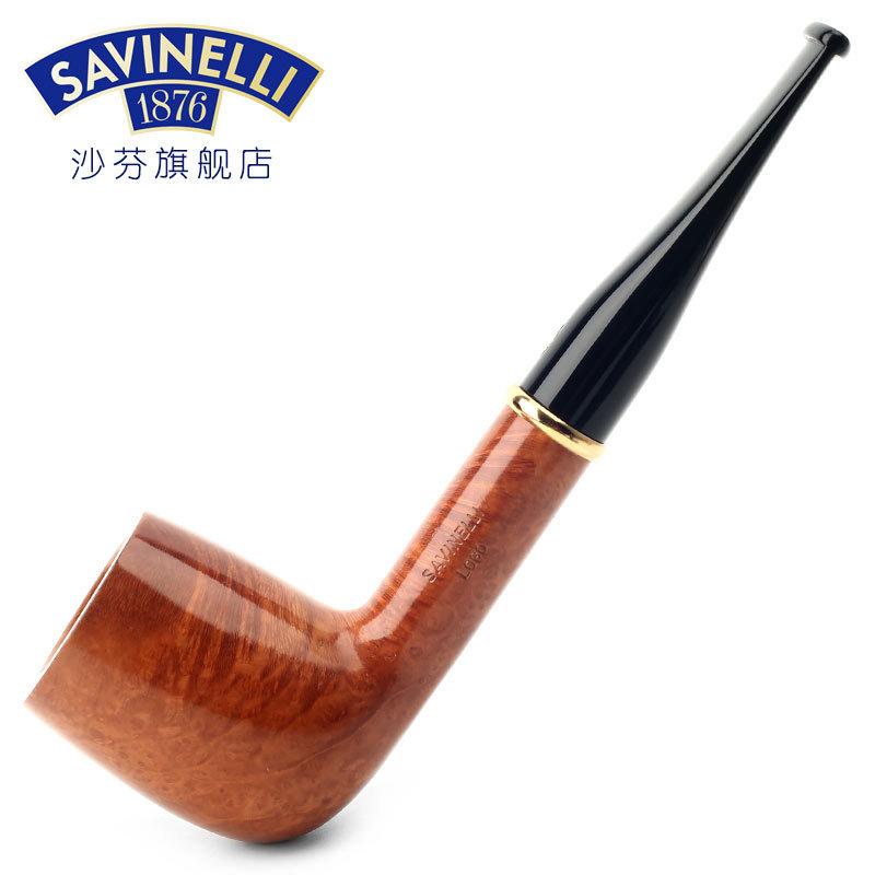 沙芬SAVINELLI 品牌标志石楠木烟斗P233L金色指环斗杆光面111直斗
