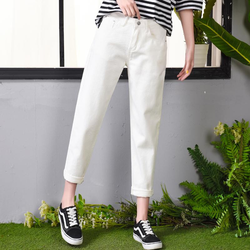 韩版高腰白色牛仔裤女宽松大码学生bf百搭九分老爹直筒休闲哈伦裤