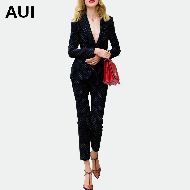 女神秋季套装女时尚两件套2017新款名媛气质女装修身显瘦职业套装