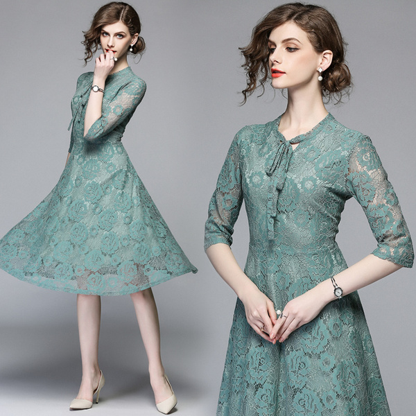 Spot real shot new five-point sleeves slim slimming long paragraph large swing lace dress