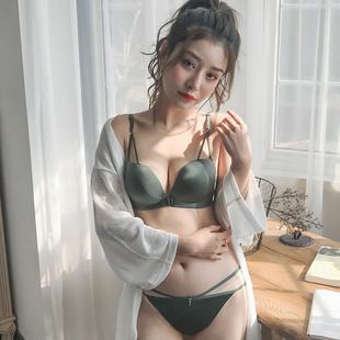 前扣美背内衣女无痕聚拢文胸套装夏季无钢圈日系小胸加厚性感胸罩