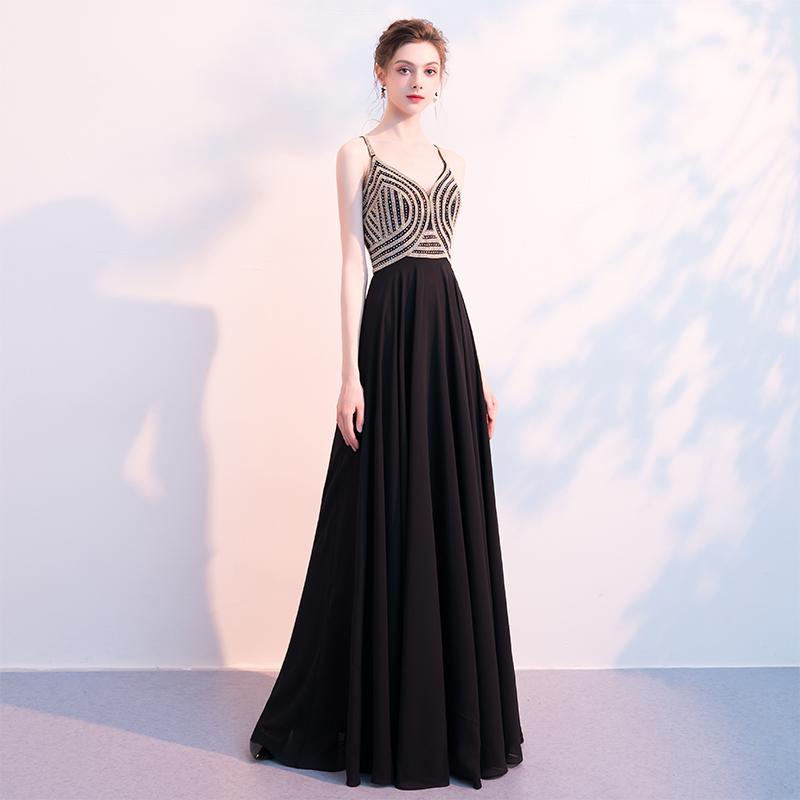 晚礼服女2018新款宴会高贵优雅黑色性感吊带聚会派对连衣裙主持人