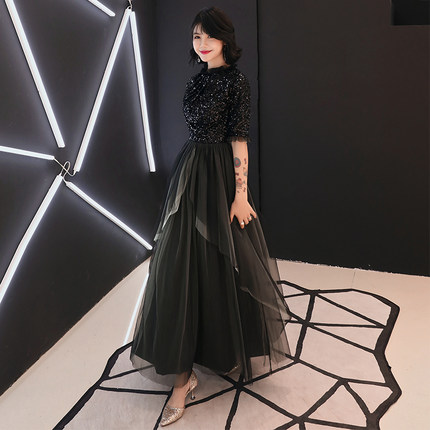 Evening Dress temperament female 2018 new banquet elegant birthday party ladies black dress long