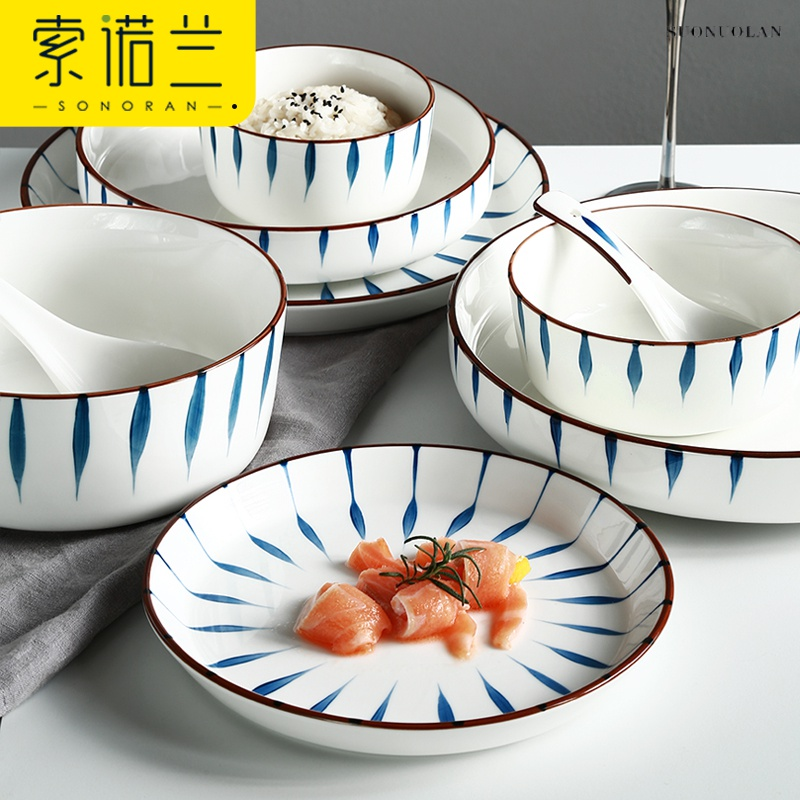 Dishes suit household chopsticks of Japanese hand - made plate bowl dish dish outfit northern Dishes