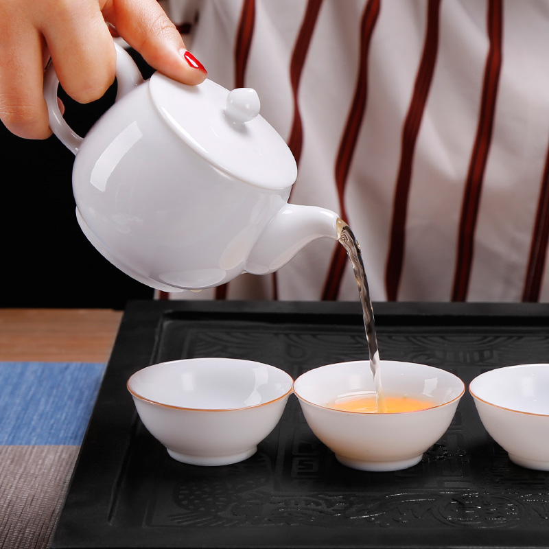 High white porcelain office six kung fu tea sets tea gift box combination Chinese modern ceramic tea cup