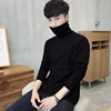 Men's Slim shirt solid color turtleneck long-sleeved sweater Korean winter sweater plus thick velvet men