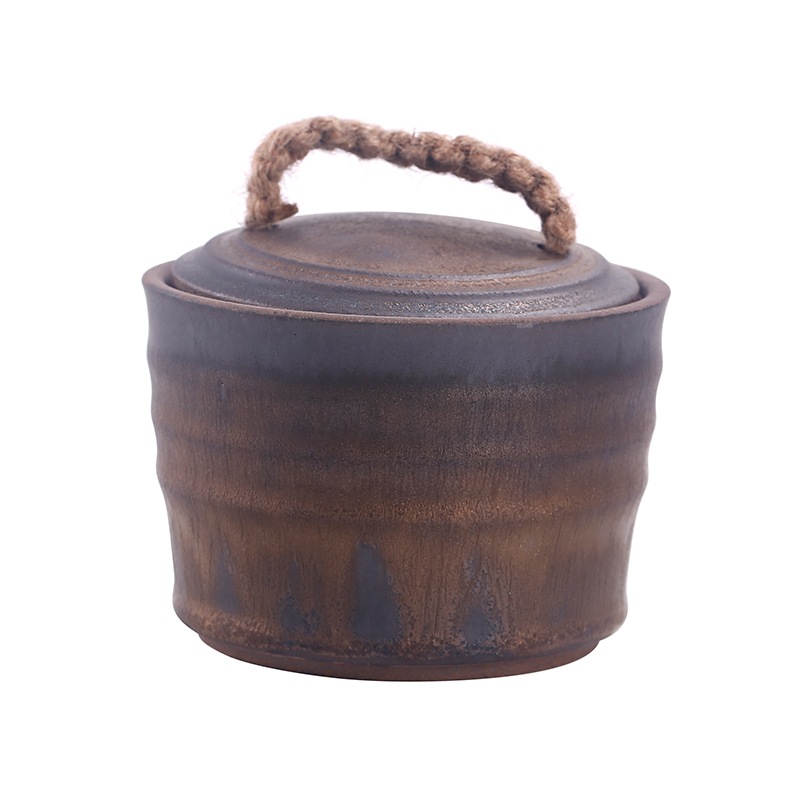 Caddy fixings ceramic POTS retro nostalgia thick clay pot small jar home tea cylinder empty as cans with cover POTS