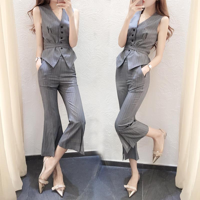 2018新款女装夏装时髦套装时尚无袖修身马甲喇叭裤港味套装两件套
