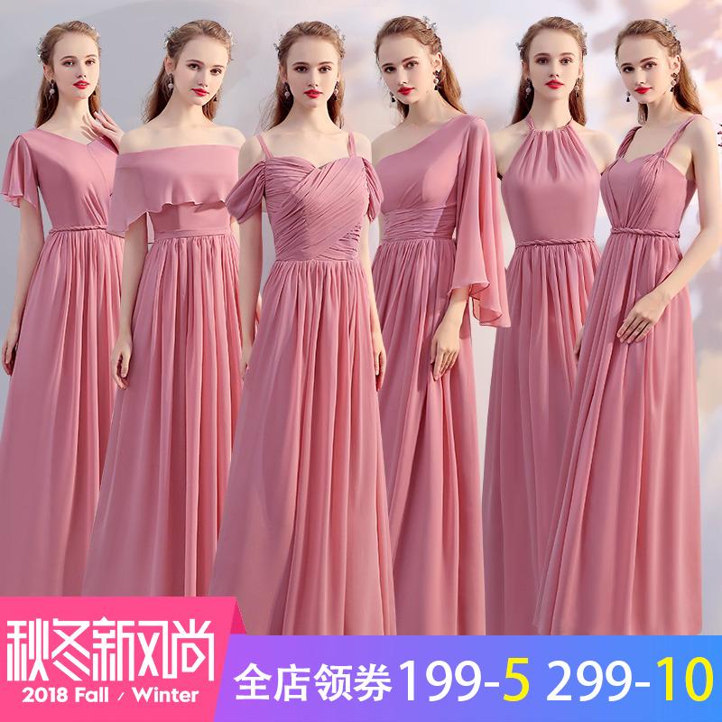 伴娘服长款2018yabo会员韩版粉色伴娘团姐妹裙夏季宴会伴娘礼服女显瘦