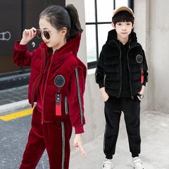 男女童秋冬装2018新款卫衣三件套装双面金丝绒中大童加绒加厚儿童
