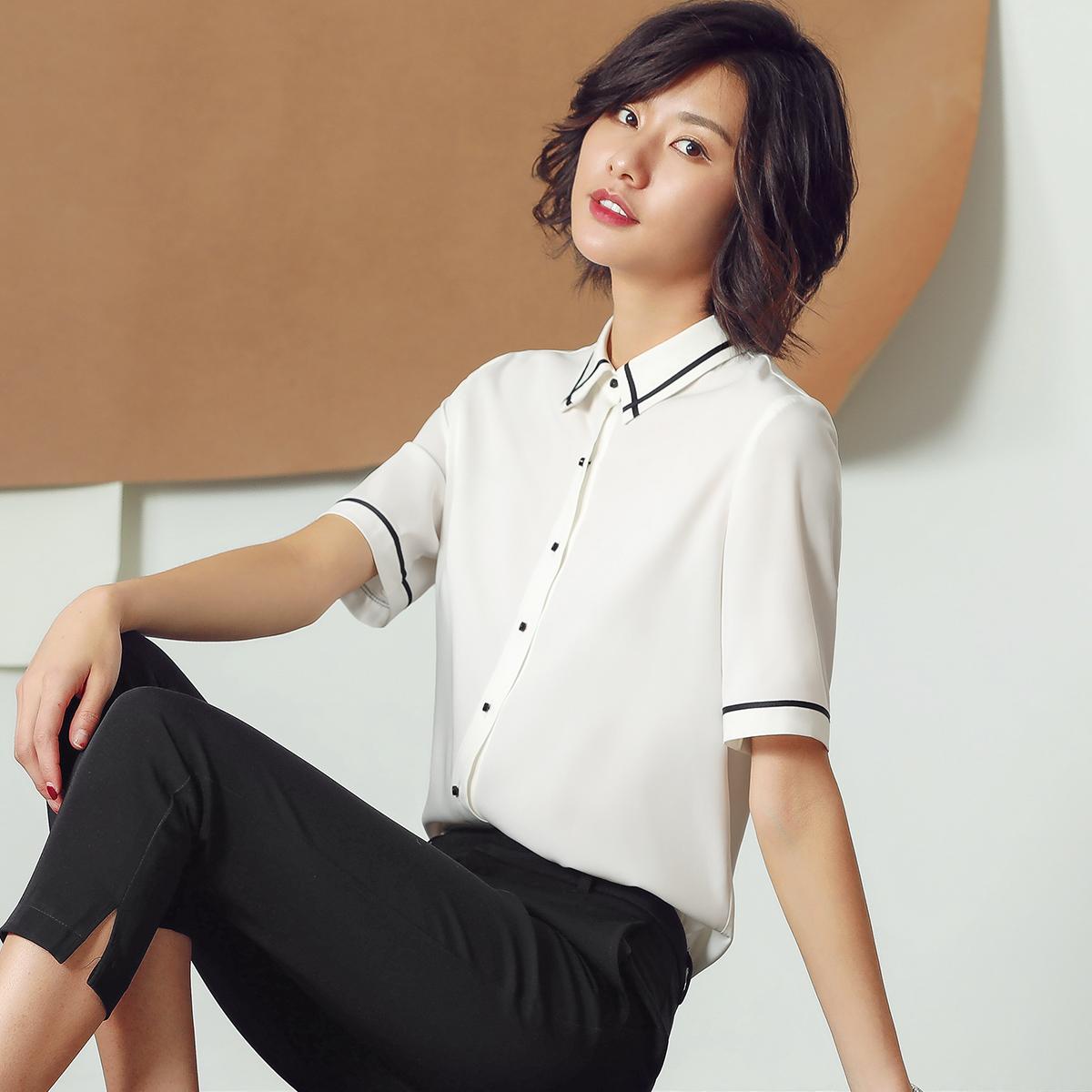 衬衫女短袖2018夏季新款短袖雪纺衬衣白色职业工作服大码方领工装