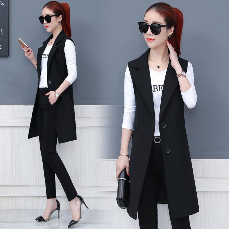 马甲女中长款2018春季新款韩版西装领时尚气质马夹春款上衣女外套