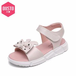 大东童鞋女童凉鞋2019夏季新款蝴蝶结女童露趾凉鞋小童鞋子软底