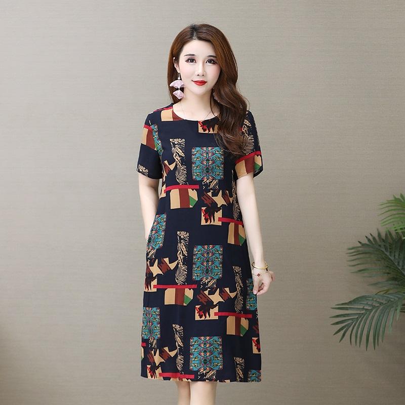 妈妈女装短袖夏装新款油画裙子50大码宽松舒适过膝妈妈棉绸连衣裙