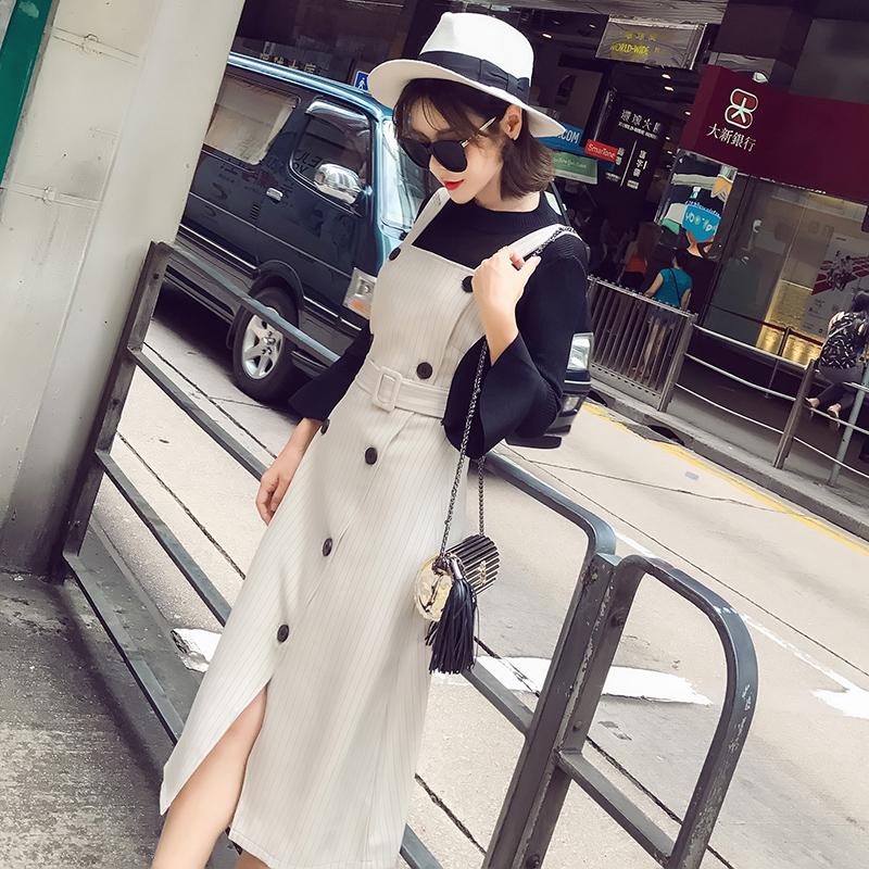 23区 2017秋装新款女装韩版chic吊带两件套装裙子中长款过膝背带连衣裙