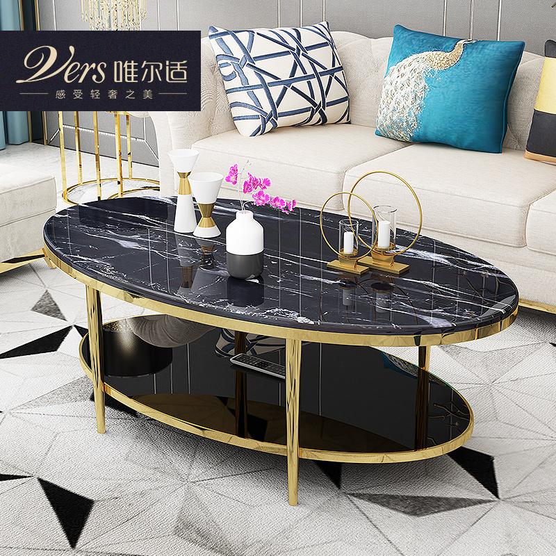 唯尔适 后现代简约轻奢风格椭圆大理石茶桌 不锈钢圆形茶几
