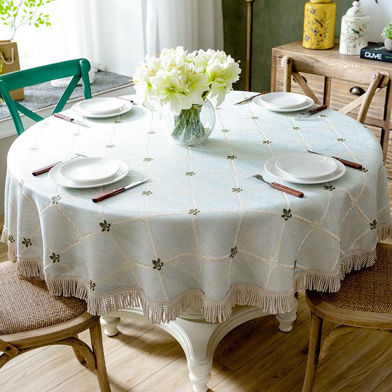 美式格子圆形桌布布艺欧式棉麻小清新餐桌布流苏轻奢圆桌台布家用