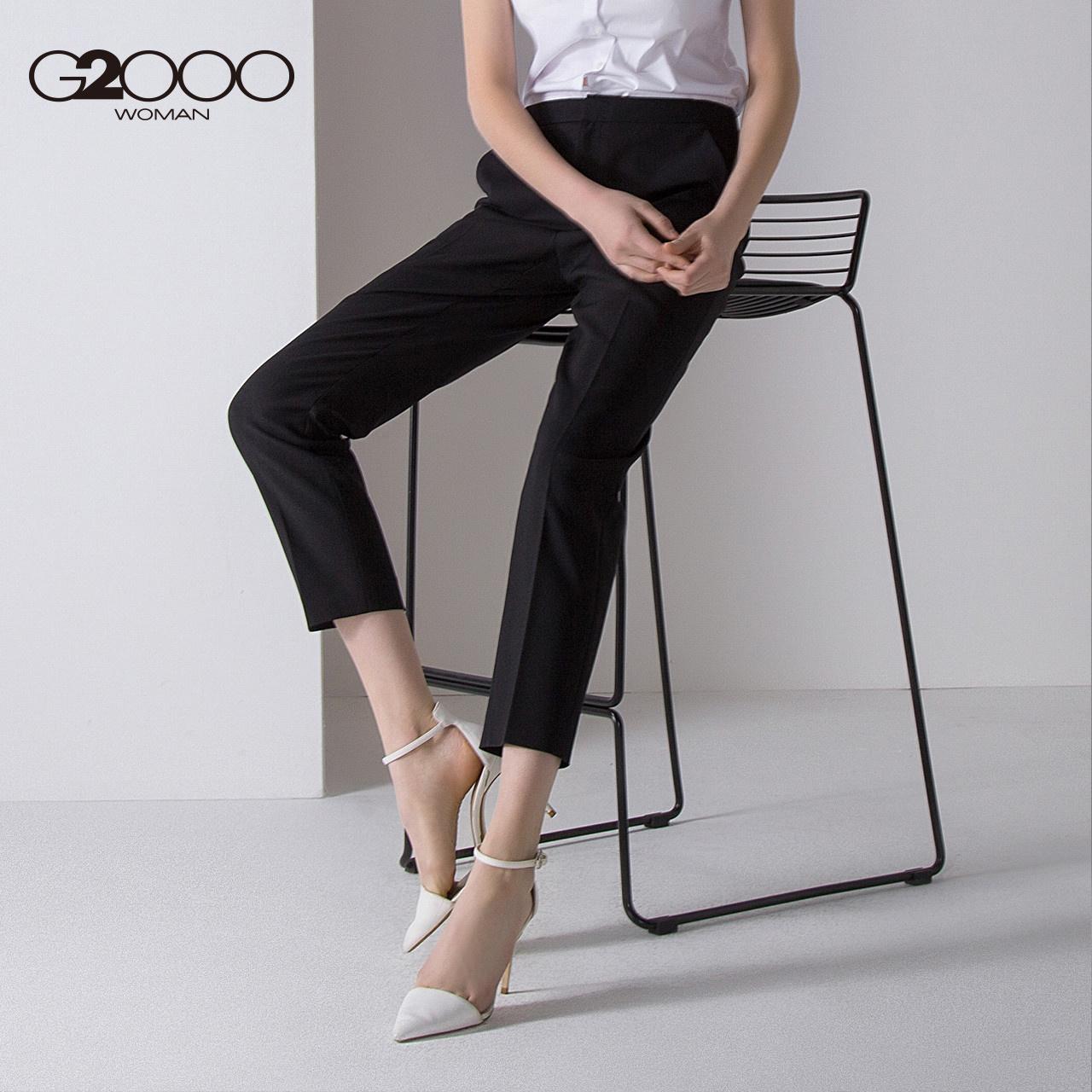 G2000商场同款黑色西装裤 2018春季新款OL通勤气质修身九分裤