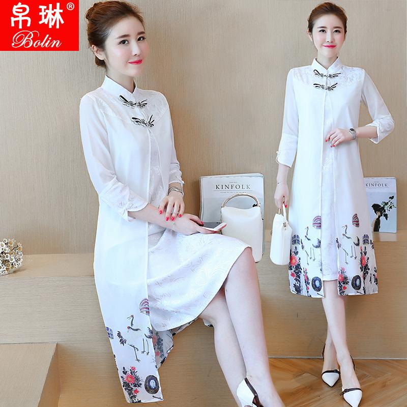 连衣裙女复古中国风盘扣改良日常七分袖中长款假两件印花旗袍秋新