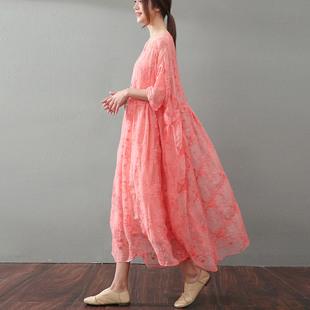 蕾丝真丝连衣裙女夏气质 宽松大码裙子套装