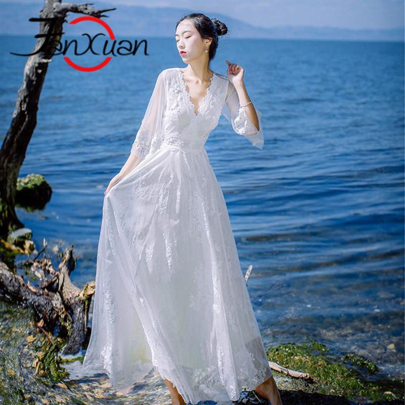 轻奢品牌梵炫沙滩长袖雪纺连衣裙女2017新款长款白色网纱公主裙