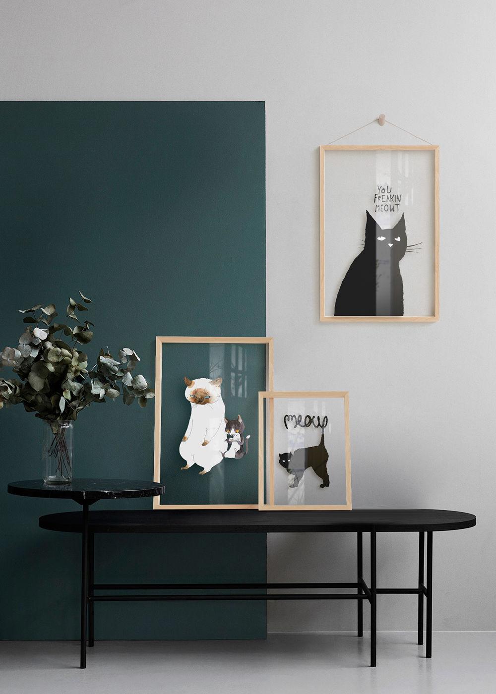 三小姐 猫 北欧ins风格装饰画卧室床头挂画书房餐厅玄关卡通挂画