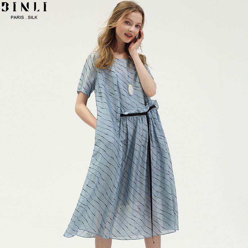 2018夏季新款女装欧美a字廓形宽松条纹显瘦气质飘逸亚麻连衣裙