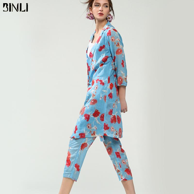 2018秋装新款女装欧美时尚宽松印花苎麻小西装萝卜裤套装两件套