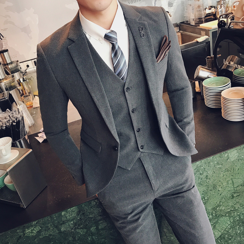 商务休闲西服套装男三件套职业工装韩版修身纯色西装新郎结婚礼服