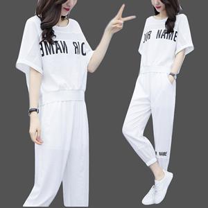 2020夏韩版打底衫短袖百搭t恤女宽松胖MM大码休闲遮肉两件套装潮