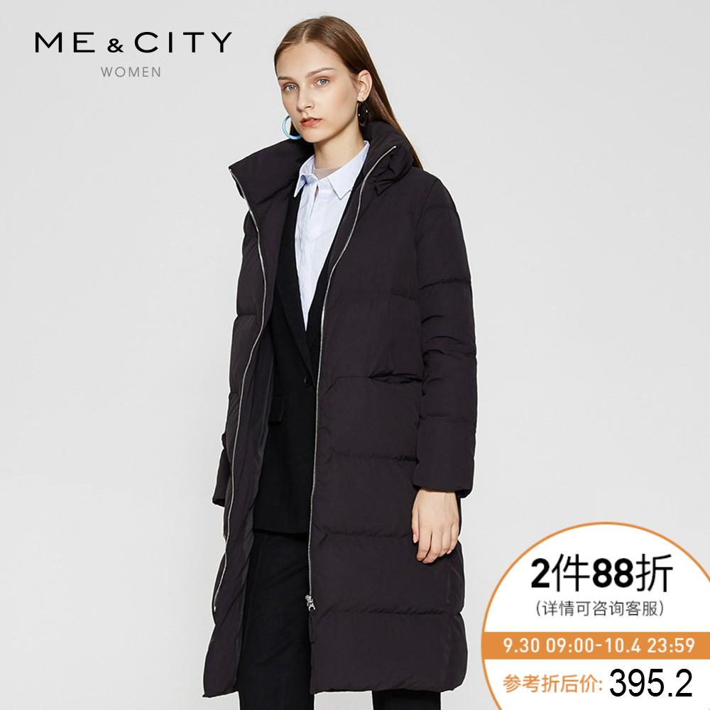 折|MECITY女高领过膝长款黑色隐形口袋羽绒服加厚保暖