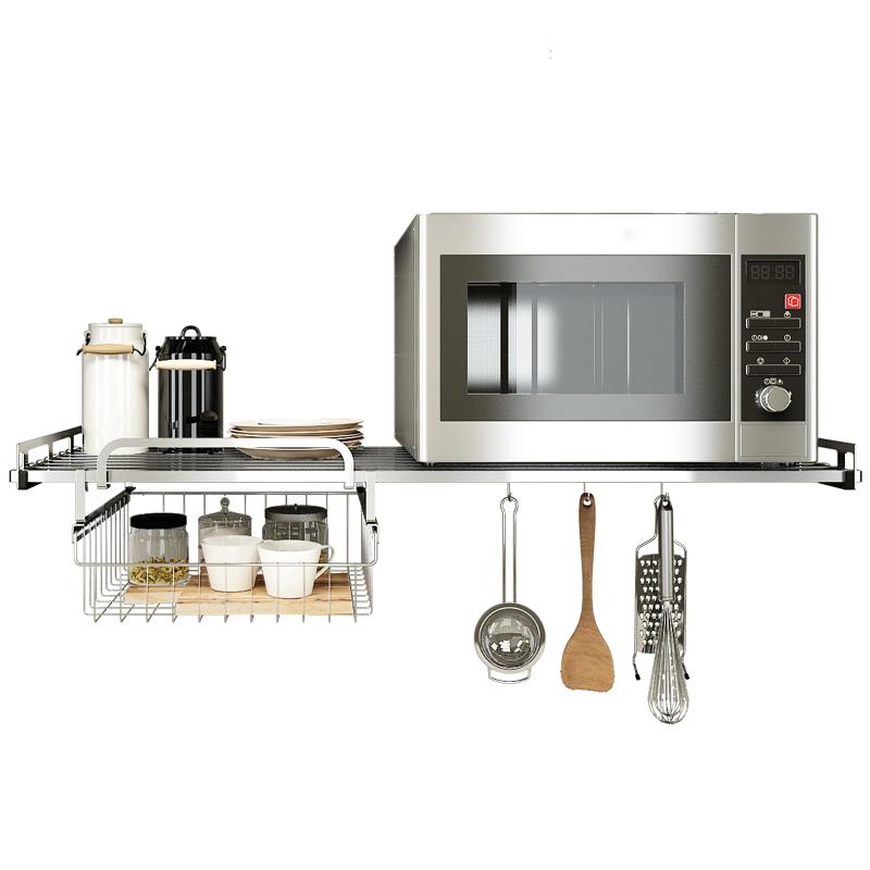 厨房收纳架微波炉置物架壁挂式304不锈钢烤箱架子储物架搁架锅架