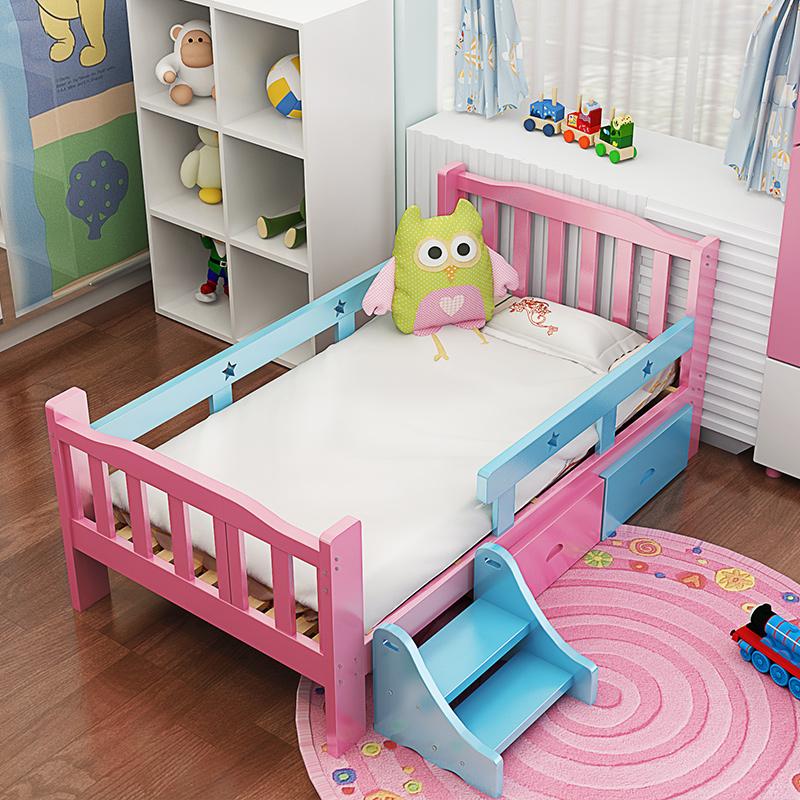 儿童床男孩单人床拼接床1.5米小学生加宽床经济型实木女孩公主床