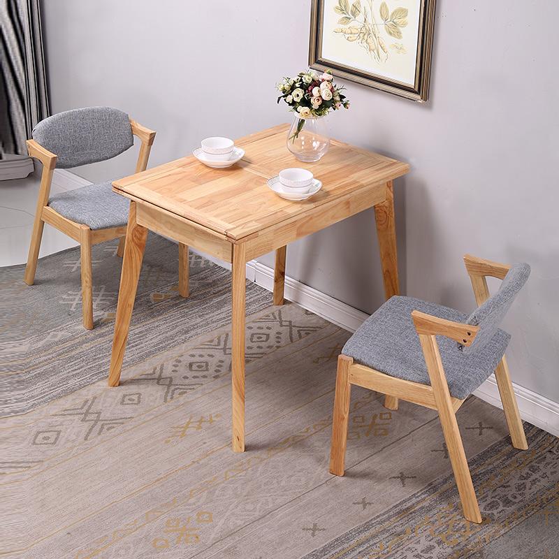北欧实木折叠餐桌橡胶木长方形饭桌小户型日式餐桌椅组合现代简约