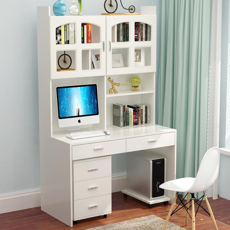 实木电脑桌台式家用书桌书架组合简约桌子写字桌书柜一体写字台