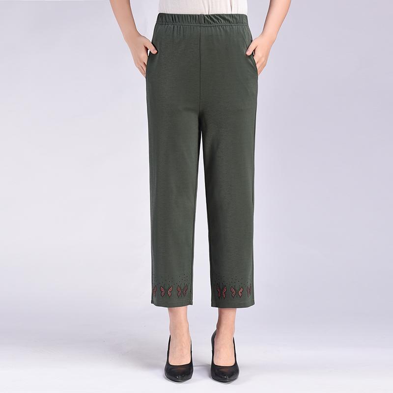 中老年冰丝女裤妈妈九分直筒裤