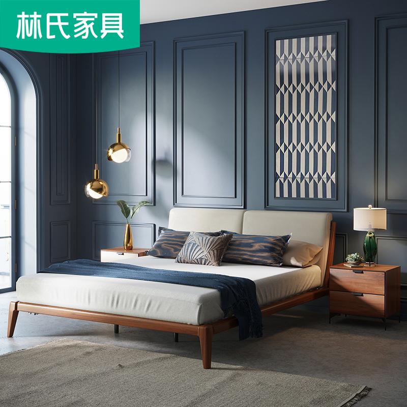 林氏家具北欧1.8米双人床实木框主卧卧室软包床现代简约组合DQ3A
