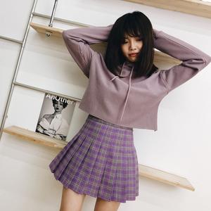 2019新款清新甜美百褶裙可爱高腰百搭紫粉格子防走a字减龄短裙
