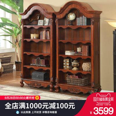 欧轩格 美式实木书柜 五层实木书架欧式书柜实木书橱自由组合书架