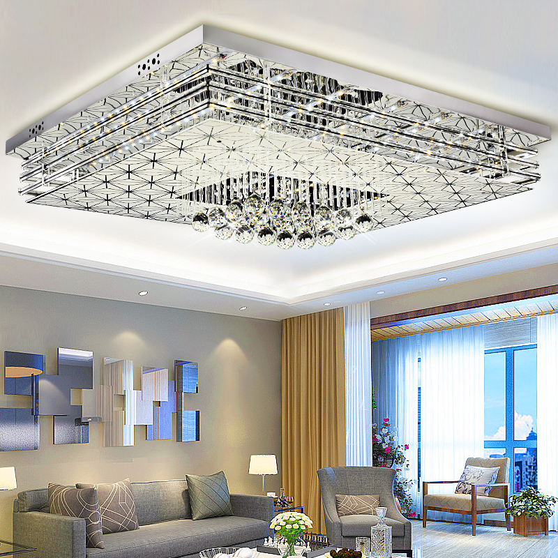 living room lamp led ceiling lamps rectangular simple modern headlights atmospheric hall lamp bedroom home crystal lamp - Ceiling Lamps Bedroom
