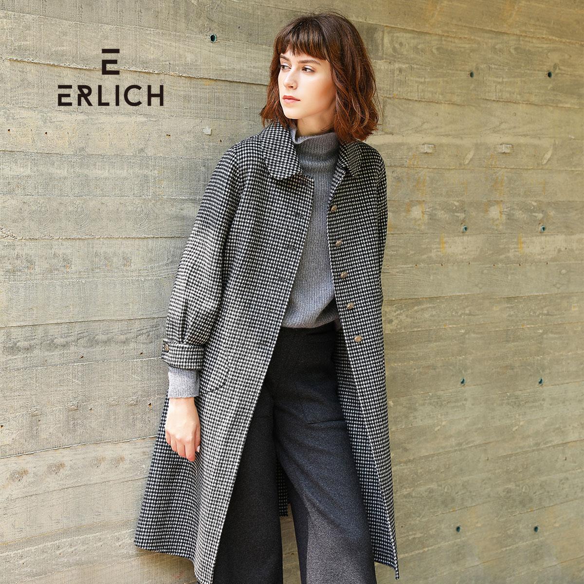 erlich2018秋冬季大衣外套灰白方格千鸟格条纹中长款毛呢外套女