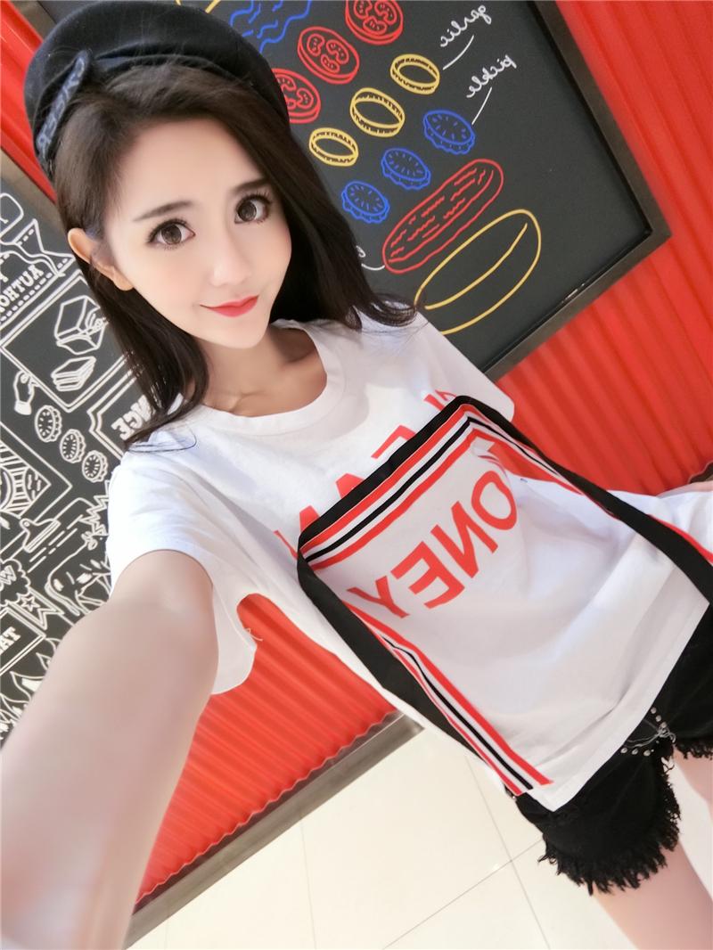 实拍春装新款白色短袖T恤女装夏季学生宽松韩版百搭上衣