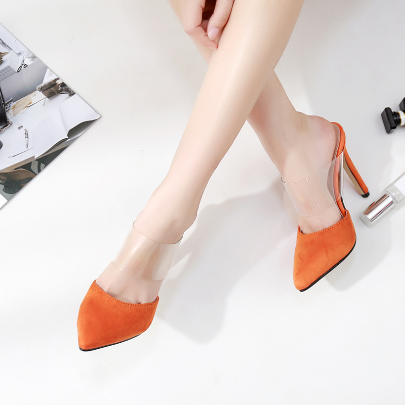 Sexy women's High-heeled PVC Transparent shoes Square heel S...