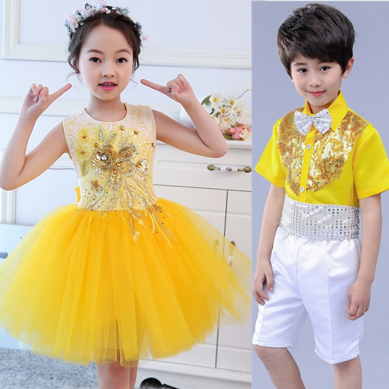 Children's Belt Trousers Performance Dress Girl Princess Skirt Peng Skirt Presidence Dress Boys Chorus Performance Dress