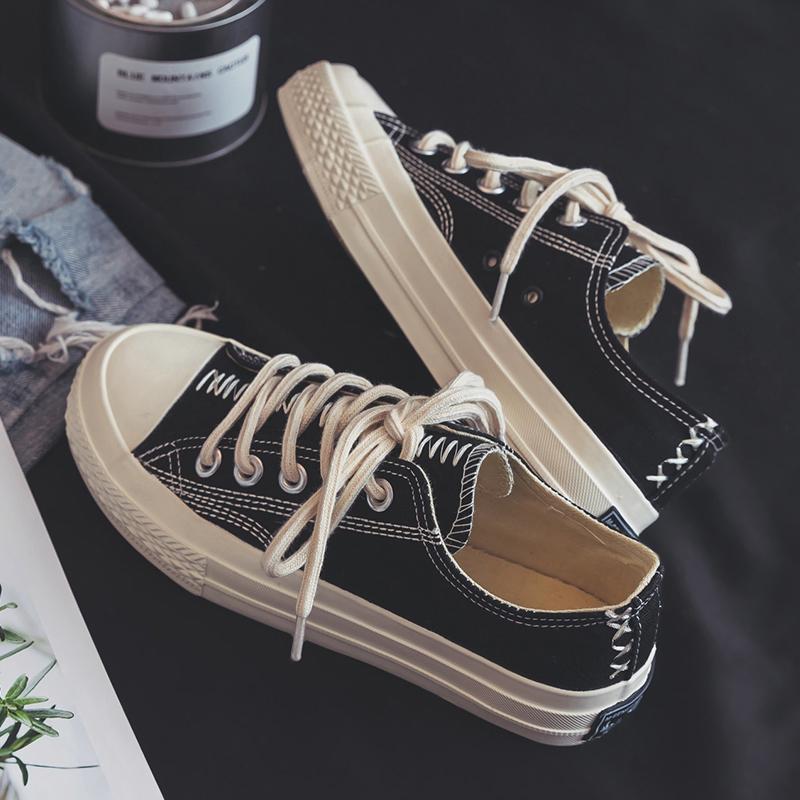 黑色帆布鞋女2019新款学生韩版秋鞋小白潮鞋百搭秋季夏款板鞋爆款