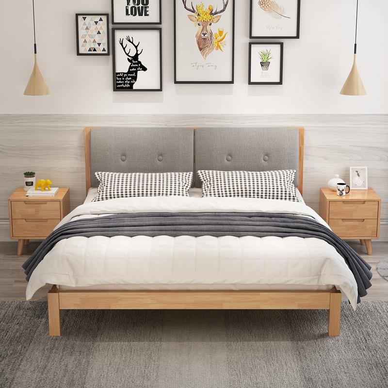 全实木床1.8米橡木1.5软靠现代简约中式双人储物主卧大床工厂直销