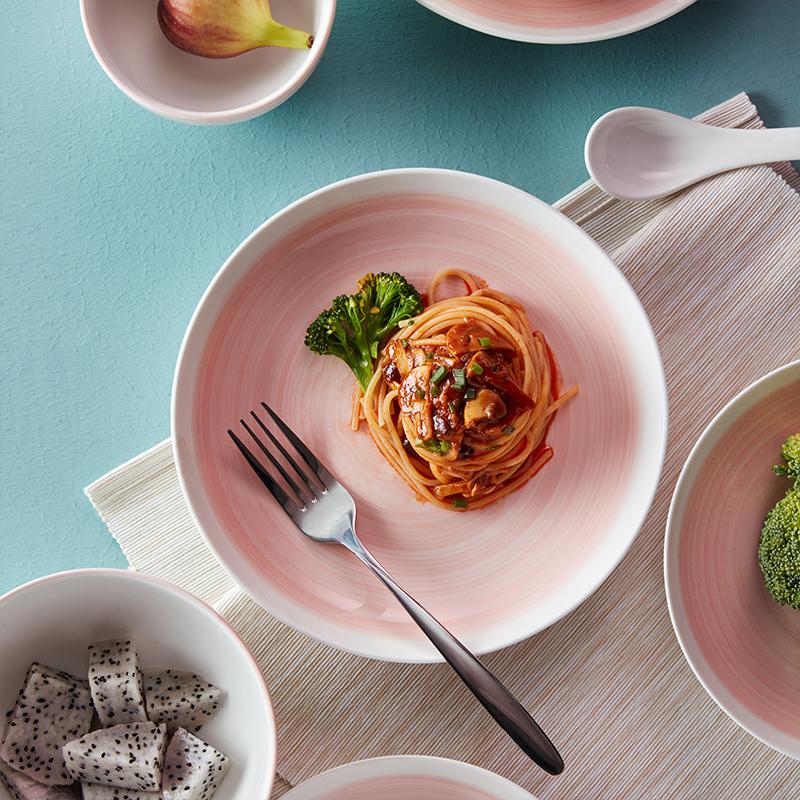 淘寶心選手彩中式餐具新骨瓷碗碟盤家用餐具套裝粉紅手彩