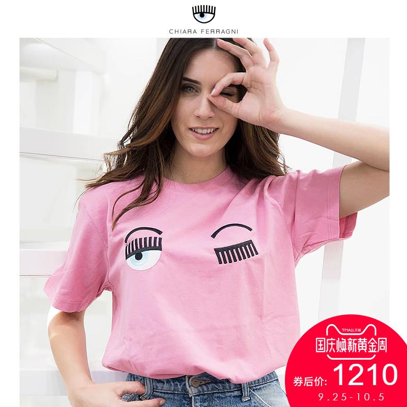 Chiara Ferragni2018夏季新款简约刺绣俏眼睛多色短袖T恤女